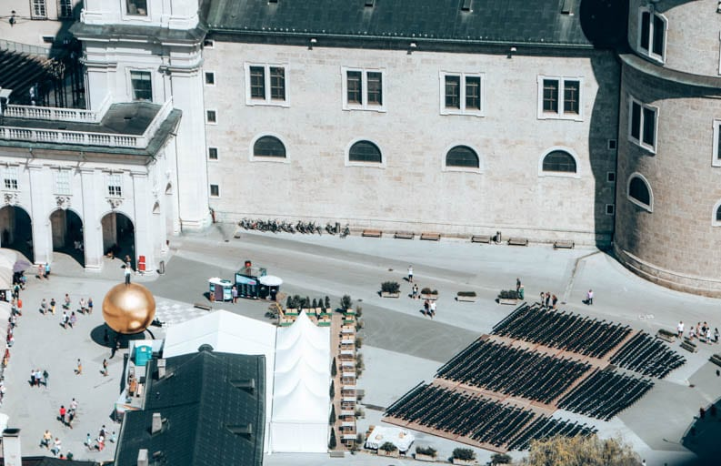 An aerial view of the Salzburg Festival