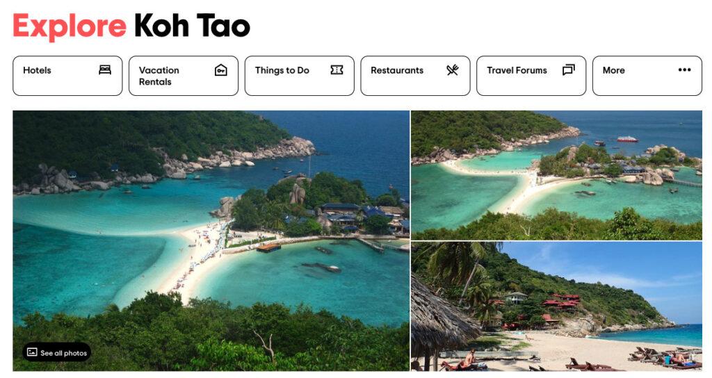 TripAdvisor activities in Koh Tao advert
