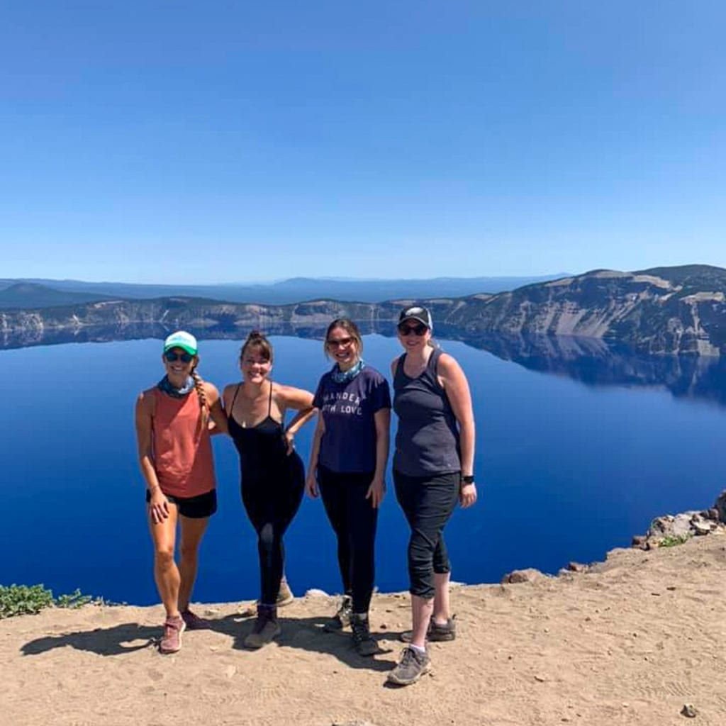 Friends at the top of Garfield Peak Trail at Crater Lake