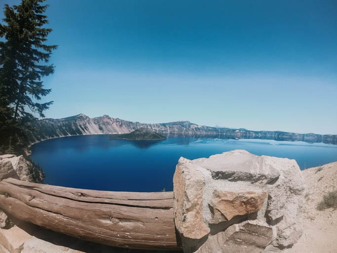Crater Lake with Wizard Island in the Background