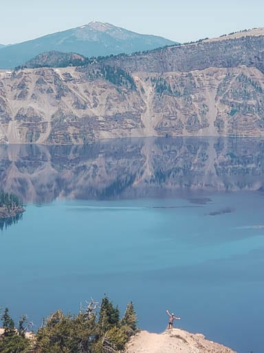 Woman on Garfield Peak Trail at Crater Lake