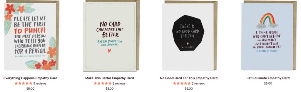 empathy cards with what to say when someone dies