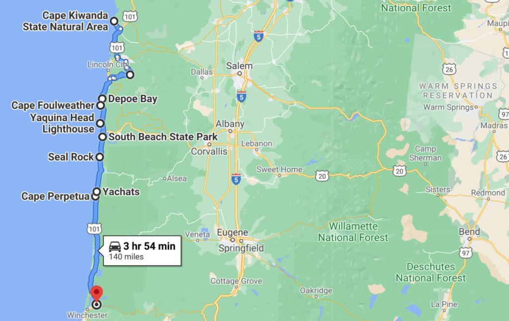 map of an oregon coast road trip