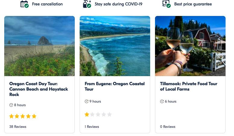 Oregon coast activities from getyourguide