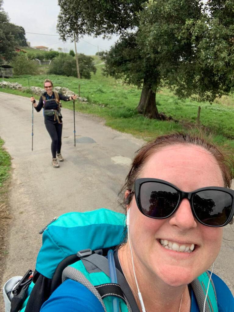 two women hiking the camino de santiago