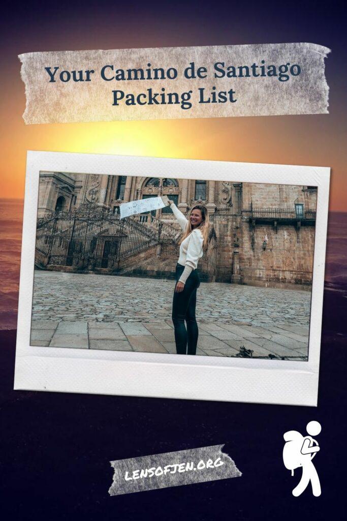 Camino de Santiago packing list pin for pinterest