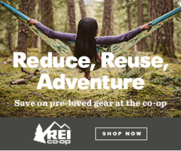 REI Sustainable Advert: shop gently used outdoor gear for an ethical way to buy clothing