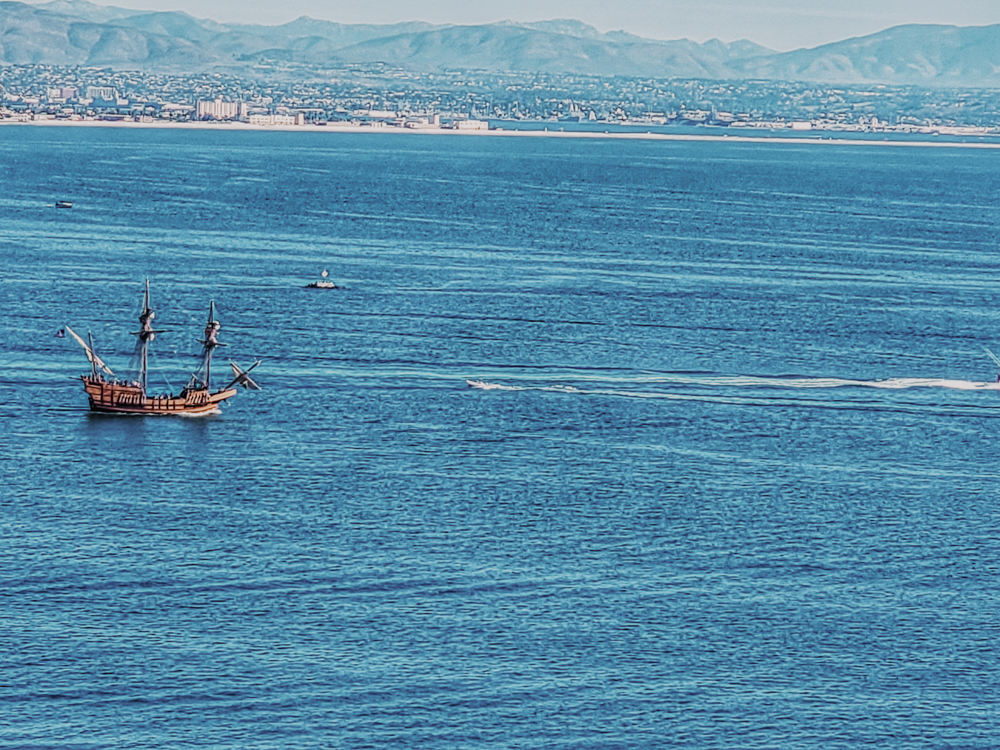 A ship in the bay while on a cabrillo national monument hike