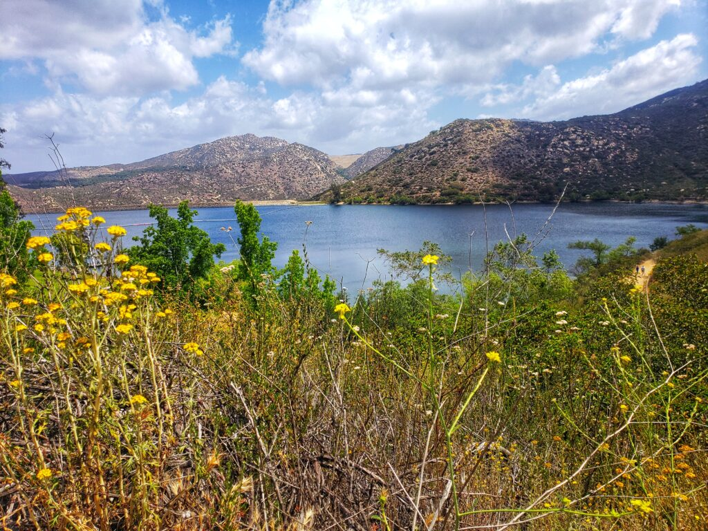 Lake Poway at the start of the mt woodson hike to potato chip rock
