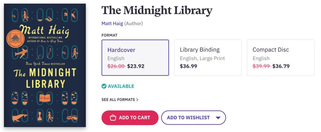 The Midnight Library Bookshop Advert