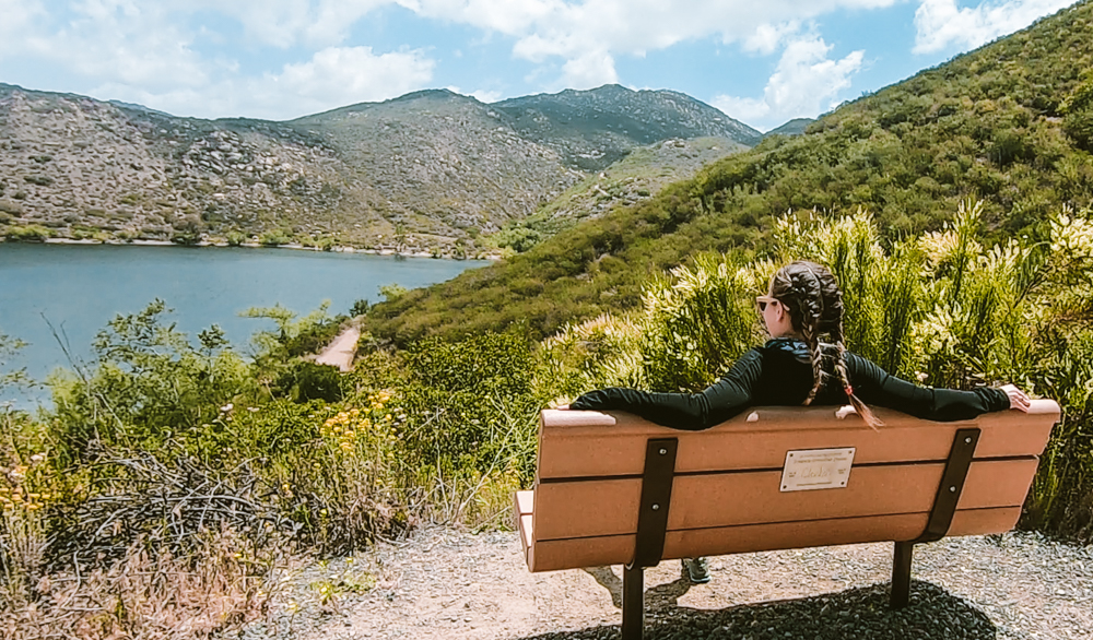 View of Lake Poway at the start of the Mt Woodson hike