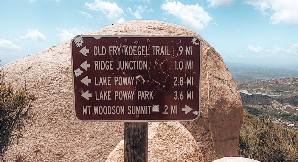 Sign on the Mt Woodson hike