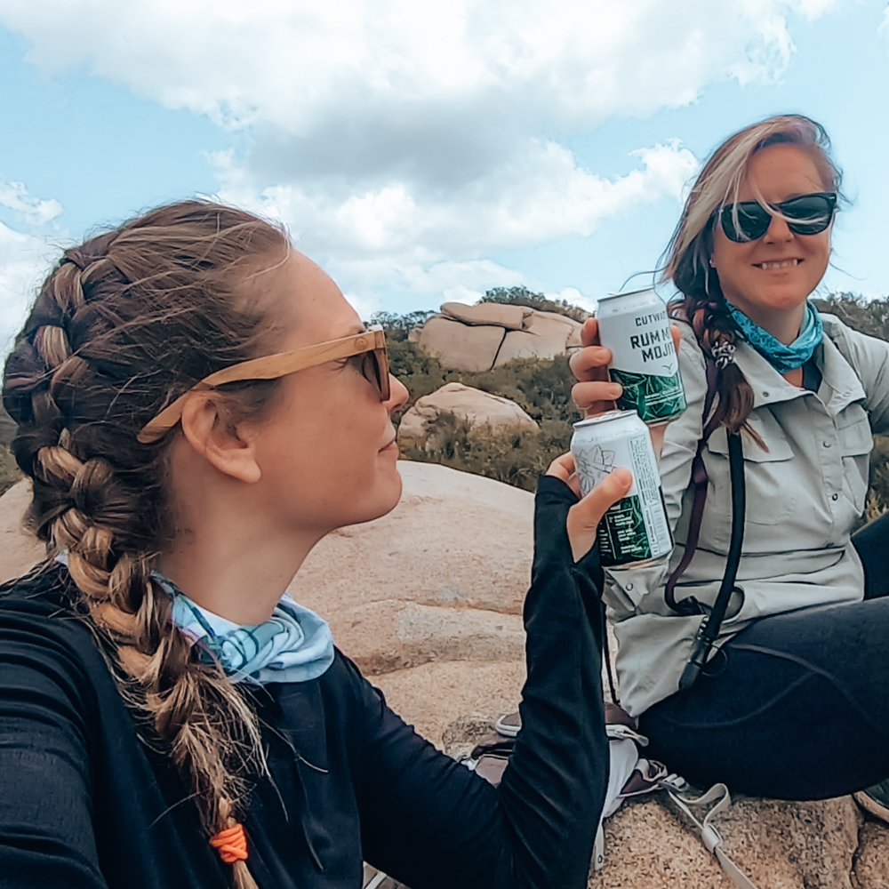 Summit beverage on the mt woodson hike to potato chip rock