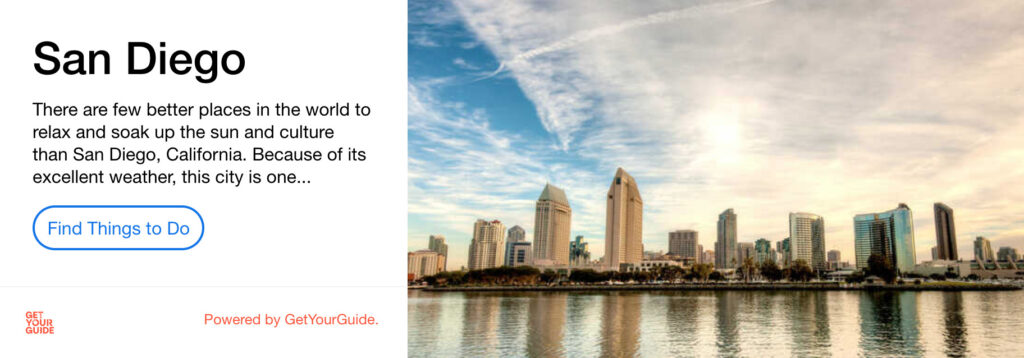 San Diego Get Your Guide advert