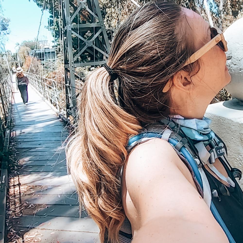 The suspension bridge on the 7 bridges walk in San Diego