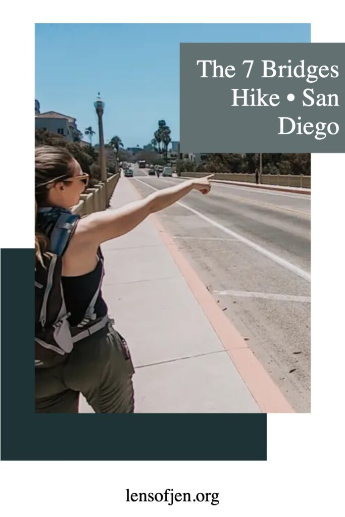 Pin for Pinterest of the 7 bridges hike in San diego