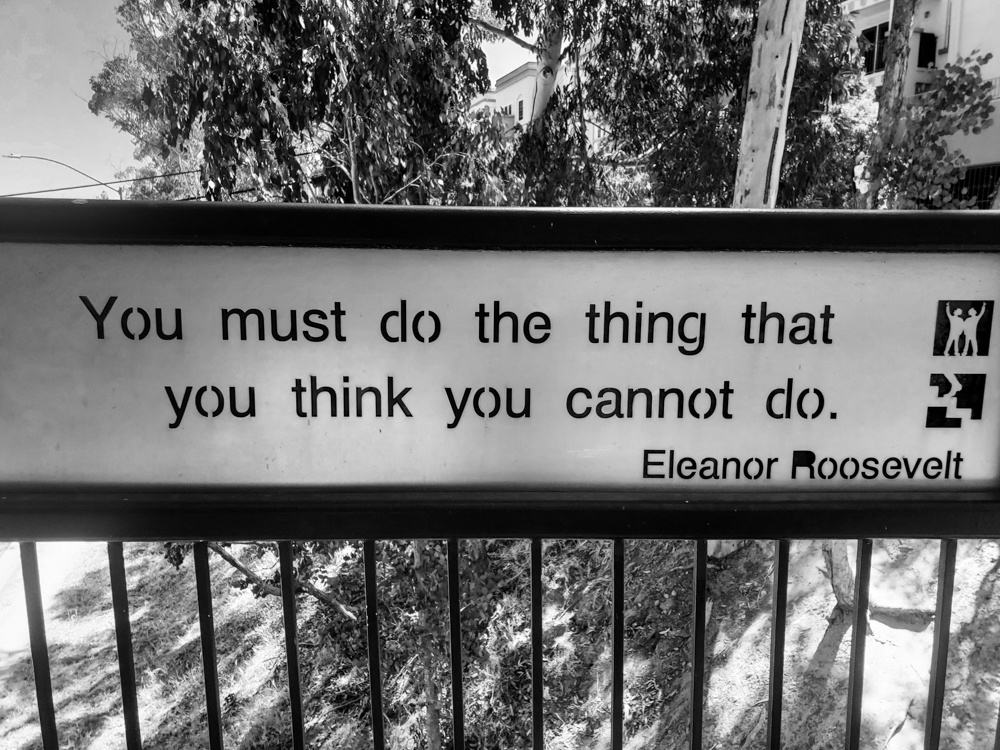 """A quote on the Vermont Street Bridge """"YOU must do the thing that you think you cannot do"""" by Eleanor Roosevelt"""