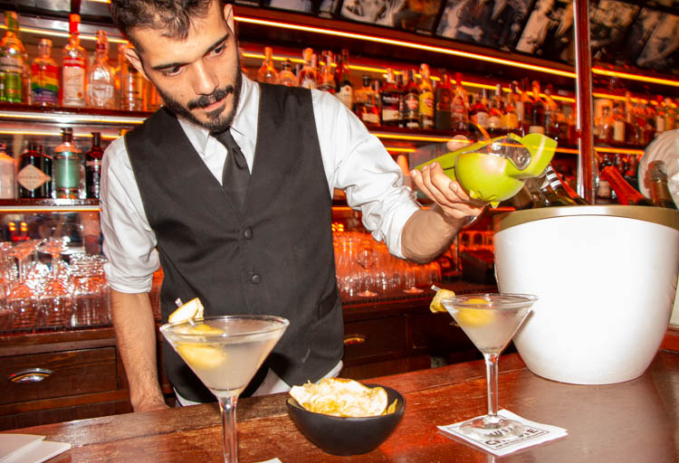 Pouring drinks at Museo Chicote in Madrid