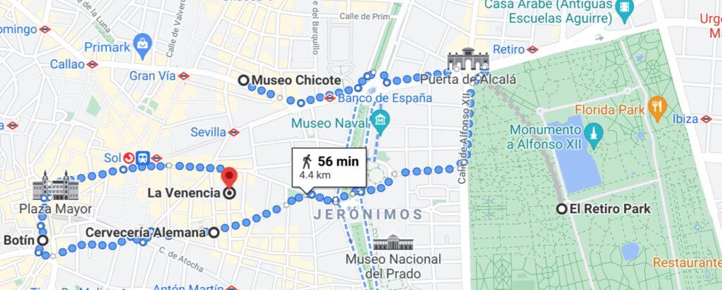 map of this walking tour of Hemingway's Madrid