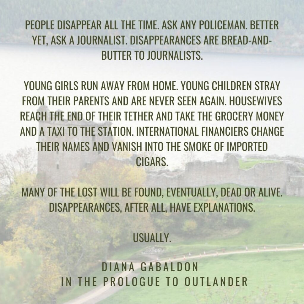 The prologue to Outlander by Diana Gabaldon, a life-changing read