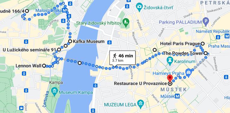 A map of a walking tour of Prague