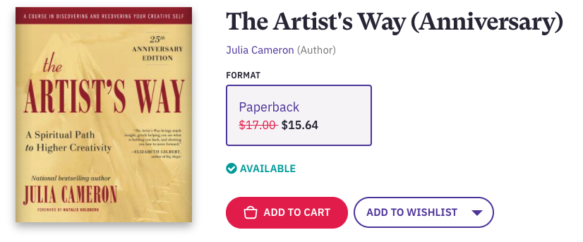The Artist's Way is a life-changing book for the blocked artist