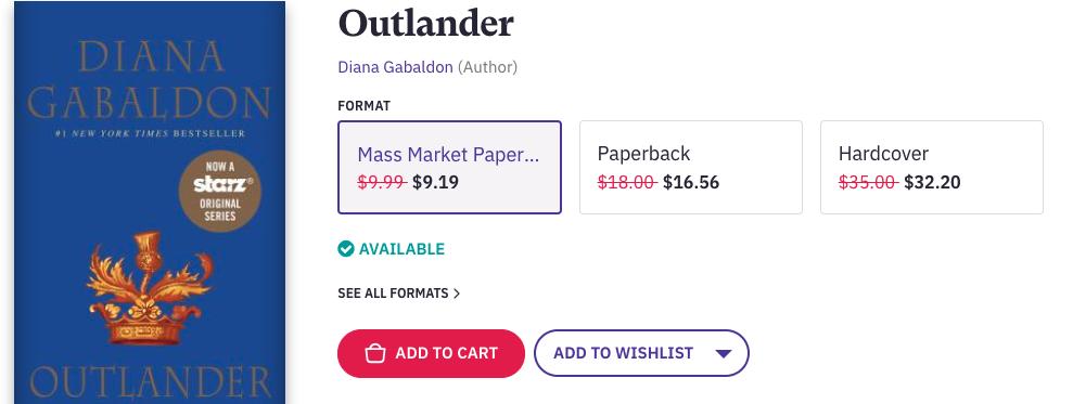 Outlander Advert from Bookshop