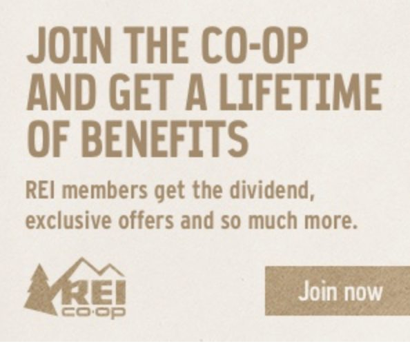 REI Advert Join the REI Co-Op to trade-in your gently used outdoor gear for store credit