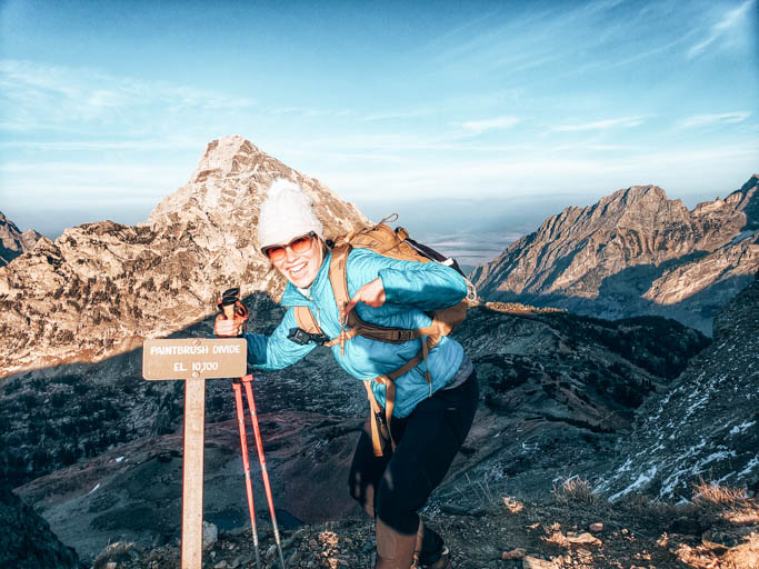 A hiker all decked out in ethical outdoor gear on the Paint Brush Divide Hike in Grand Teton National Park